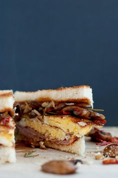 Mushroom Parmesan Egg Sandwich With Ham