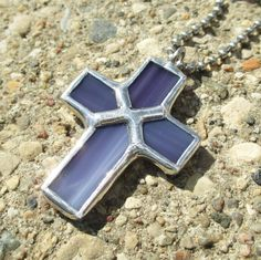 Purple+Stripe+Cross+Pendant+Necklace+Stained+Glass+by+FiveSparrows,+$15.00