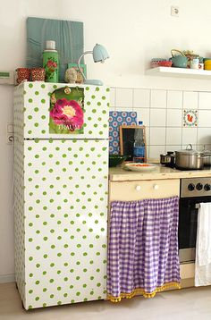 polka dot fridge, who knew it could be a design element?