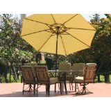 Outdoor Bronze Patio Furniture with Green Cushions
