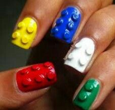 Lego nails! How cute ....especially for maybe a five year old girl!
