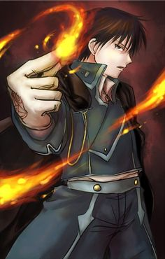 Roy Mustang *-*You can find Fullmetal alchemist brotherhood and more on our website. Fullmetal Alchemist Brotherhood, Fullmetal Alchemist Mustang, Fullmetal Alchemist Alphonse, Full Metal Alchemist, Der Alchemist, Manga Anime, Fanarts Anime, Anime Characters, Anime Art