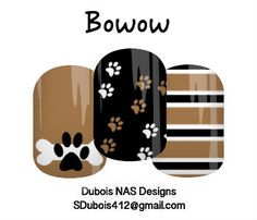 Bowow! Get your bark on!  **Get in touch with me at facebook.com/sdubois412jamberry if you're interested in a custom NAS (nail art studio) sheet of your own! New to Jamberry? Check out: sdubois412.jamberry.com**  ( DIY nail art, dog, puppy, paw prints, brown, black, bone, bowow, dog bone )