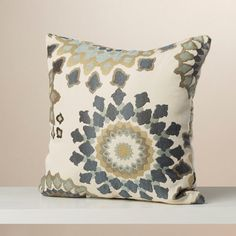 This crisp polyester throw pillow elegantly weaves together the neutral color palette. Beige, charcoal, slate and brown weave together to create this intricate flower motif, perfect for traditional or contemporary décor.