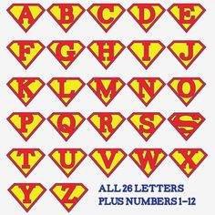 For a banner! Superman alphabet letters and numbers - make a super hero birthday party banner, front door decoration, birthday iron-on t-shirt, whatever you wish! Superman Birthday Party, Boy Birthday, Birthday Parties, Birthday Door, Super Hero Birthday, Alphabet Birthday, Birthday Ideas, Vintage Birthday, Birthday Cakes