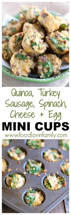 Quinoa, Turkey Sausage, Spinach, Egg, Cheese Mini Cups | breakfast bites| Quinoa| breakfast muffin| These quinoa mini cups make a great portable breakfast. Make them ahead of time and have them all week. http://www.foodlovinfamily.com/quinoa-turkey-sausage-spinach-and-cheese-mini-cups/