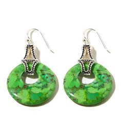 Studio Barse Lime Green Turquoise Disc Drop Earrings