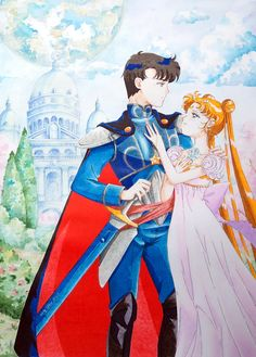 Princess Serenity and Prince Endymion at their Moon Kingdom