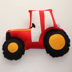 Tractor Cushion vehicle theme tractor nursery by ButtonOwlBoutique, £18.00