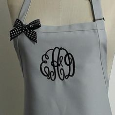 Gray Monogrammed Apron - Personalized Gray Apron, Neutral Color Aprons, Personalized Baking Kitchen Aprons, Beach Coastal Aprons, Custom by Wheelering on Etsy
