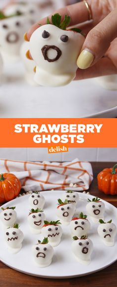 Strawberry Ghosts = easiest Halloween dessert EVER. Get the recipe from Delish.com.