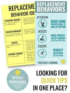 Behavior tip - use replacement behaviors to shape the behavior we want our students to display. Grab this free chart! #behavior #replacementbehaviors