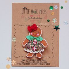 Christmas is coming! This Sweet Gingerbread Girl Hair Clip is perfect for the festive Christmas season. Made with lots of love using 100% wool