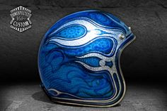 "Open face custom helmet ""Triton"".   Very bright and eye-catching custom helmet!  Airbrushed metallic, sparkle and transparent colors on a gold flakes basis."