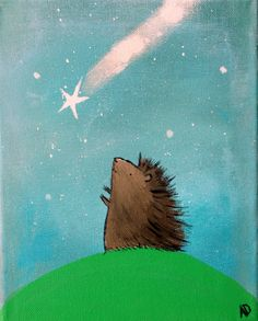 Woodland Hedgehog Catching a Falling Star Art Print Wall Nursery Decor Cute Whimsical Animal