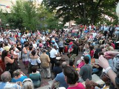 Drum Circle Asheville; smell the drums; feel the beat