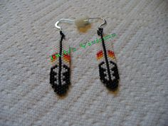 brick stitch beaded feather earrings by DebsVisions on Etsy