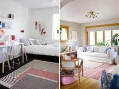 Layer multiple striped rugs
