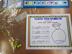 Skittles Probability: draw skittles in their bag and write 4 sentences pertaining to the probability of choosing a certain skittle