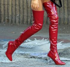 Red thigh boots street style