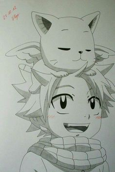 Natsu Dragneel and Happy from Fairy Tail After my colored ones now a pencil drawing. Btw, it's my first drawing in my new sketchbook. I hope, you like it. Just Cute - Natsu and Happy Natsu Fairy Tail, Fairy Tail Ships, End Fairy Tail, Fairy Tail Drawing, Fairy Tail Art, Fairy Tail Guild, Fairy Tales, Fairy Tail Happy, Fairy Tail Tumblr