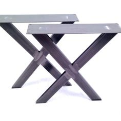 2 x Steel Table Bench Pedestal Legs The /'X Marks The Spot/' Design Desk