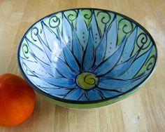 Pottery Clay Bowl Cornflower Blue Lotus Flower Wheel Thrown