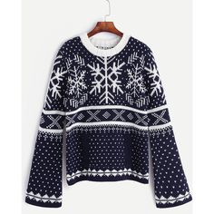 SheIn(sheinside) Navy Snow Ugly Christmas Sweater With Pocket ($25) ❤ liked on Polyvore featuring tops, sweaters, loose sweater, acrylic sweater, christmas sweaters, pullover sweaters and vintage ugly christmas sweater
