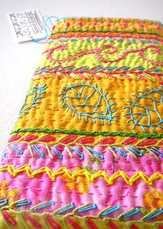 Boho Hand Embroidered Glasses Case by JulieBullArtist on Etsy, £30.00