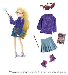 """Ravenclaw - Luna in Purple"" by ashley-lanette-hays on Polyvore featuring H&M, INC International Concepts, Converse and Luna"