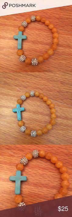 Orange bracelet with turquoise cross Handmade Jewelry Bracelets