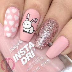 Want some bunny nail designs for easter? Then browse through our collection of cute and adorable bunny nail designs. Nail Art Designs, Girls Nail Designs, Easter Nail Designs, Easter Nail Art, Acrylic Nail Designs, Acrylic Nails, Nail Design Glitter, Nail Design Spring, Nails Design