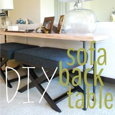 Brass Jones: DIY Industrial Sofa Back Table Wondering if I can do a little chaining up the plans on the wood part and make it look more southern rustic/industrial.... Hmm... I'd love to have a table in the living room