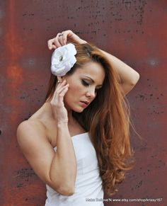 Wedding hair fascinator white rose with crystal by MakeBelieveN, $35.00