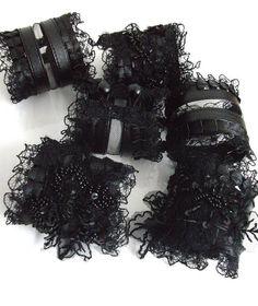 WILD CAT black wrist cuffs steampunk cuffs by angelinadesign, $37.90
