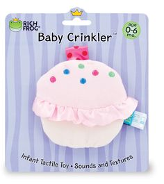 """The Cupcake Crinkler has a crinkly layer sandwiched between a colorful velour front panel and a silky soft back side. Delights baby's sense of touch and sound with contrasting textures and a soft crinkle. Surface Washable. 4"""""""