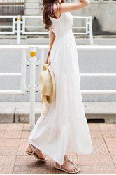 Refreshing Square Neck Solid Color Elastic Waist Sleeveless Maxi Dress For Women (WHITE,L) | Sammydress.com Mobile