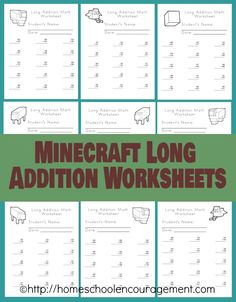 Long Addition with a fun incentive! Minecraft images to color on each page! #minecraft