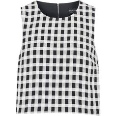 TOPSHOP Textured Gingham Shell Top ($9.08) ❤ liked on Polyvore featuring tops, shirts, crop tops, topshop, monochrome, shirt crop top, checked shirt, no sleeve shirt and textured crop top