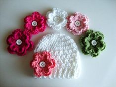 Crochet Baby Hat with 5 Different Flower Options by Silkies selections