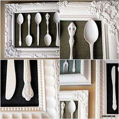 I love this idea for my Kitchen wall, take some old silverware, paint them and frame them. Perfect.