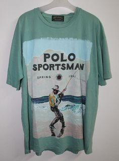 Vintage Polo Country Ralph Lauren Sportsman Spring 1991 T-Shirt Fishing