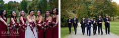 Bridal party, bordeaux wedding dresses