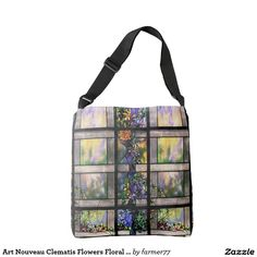 Art Nouveau Clematis Flowers Floral Stained Glass Tote Bag