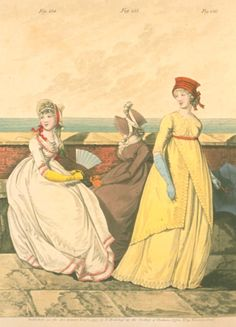 1790's fashion plate. From Gallery of Fashion, October 1797. The brown bonnet is particularly lovely!