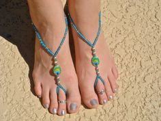 Peacock Turquoise and Gold Barefoot Sandals Slave by HouseOfBlaise