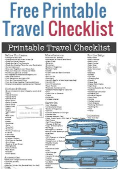 Free Printable Travel Checklist - Eliminate the stress of getting ready for your trip by utilizing this comprehensive travel checklist. It includes everything you need from clothes and shoes, accessories, toiletries and more. Plus it provides helpful reminders of tasks to complete before you leave. Pinned over 2,000 times.