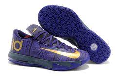 2014 Nike Zoom KD VI 6 BHM Mens Shoe - Color: Purple Venom/Metallic Gold-Purple Dynasty