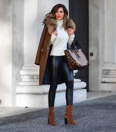"""fabfashionfix: """"Brown winter coat, turtleneck sweater, leather pants and suede boots for chic winter style. """""""