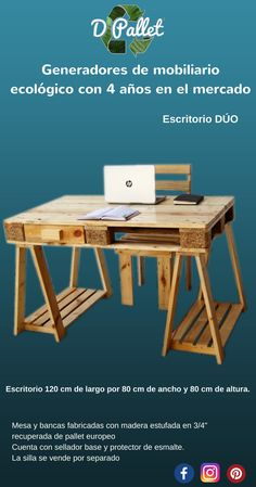 Escritorio en terminado natural semi mate, fabricado en pallet europeo
